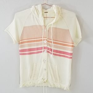 Free People Short Sleeve Hooded Cardigan Size M